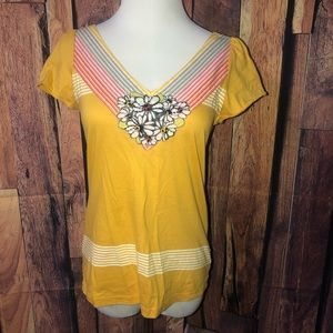 Little Yellow Button Floral Top